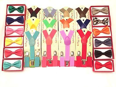 Suspender and Bow Tie Matching Colors Baby Toddler Kids Boys Girls Child US