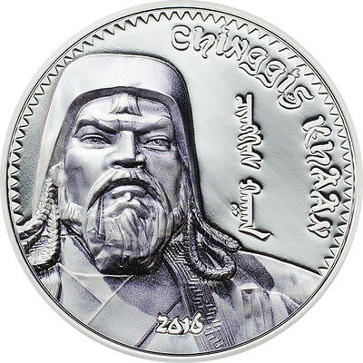 2016 Mongolia 1000 Togrog CHINGGIS KHAAN 1 OZ proof COLOURED pure silver coin