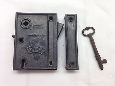 Antique BLW 1859 Cast Iron Door Lock w/ Skeleton Key Strikeplate NOS? Works {2}