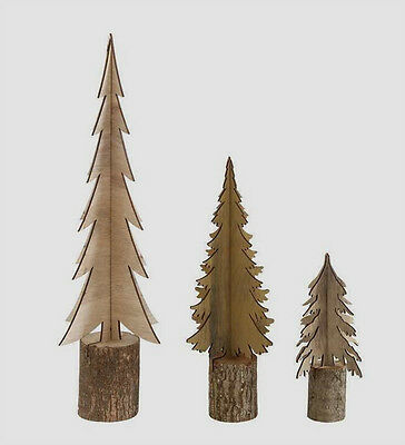 Rustic Lodge Christmas Holiday Wooden Log Cut Out Trees - Set Of 3