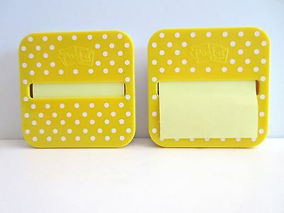 Post It Sticky Notes Pop Up Dispenser Yellow Polka Dots Set of 2