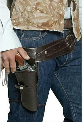 Brown Authentic Western Wandering Gunman Belt and Single Gun Holster