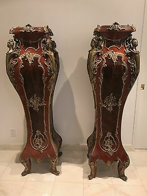 Very Large Pair of Antique style Pedestals in Wood, Ormolu and Marble 62 inch