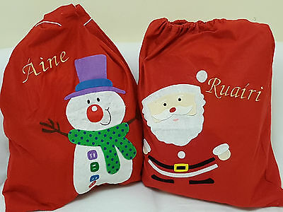 Personalised Christmas Santa Snowman Gift sack stocking toy Embroidered Name