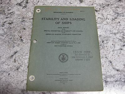 1929 Stability & loading of Ships ENSCO Corp San Francisco 1746-1926 information