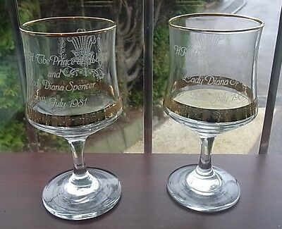 PAIR OF COMMEMORATIVE WINE GLASSES or GOBLETS - WEDDING CHARLES & DIANA - 1981