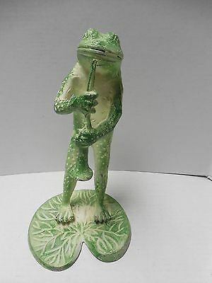 "12"" Green Cast Metal Frog on Lily Pad Playing Instrument"