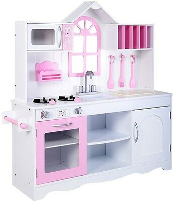 Kids Wood Kitchen Toy Cooking Pretend Play Set Toddler Wooden Playset New