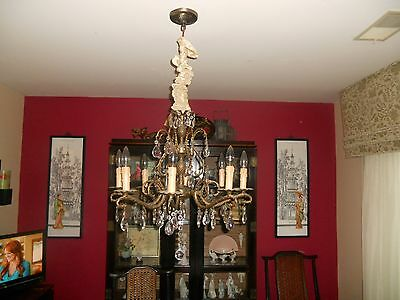 Vintage Crystal Chandelier-8 Light-4 Tier Crystal-Pineapples-Chain Cover-Stunnin