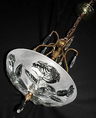 Vtg Art Deco Glass Shade Brass Crystal Ceiling Light Chandelier Fixture 1930