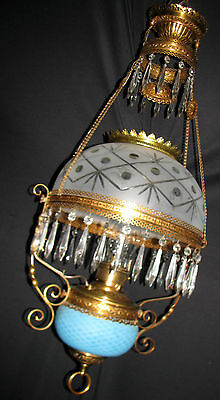 Antique Parlor Library Rochester Chandelier Fixture Oil Kerosene  Lamp 1890