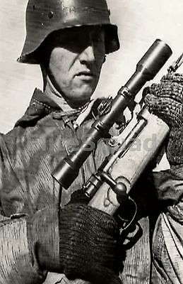 WW2 Photo Picture German sniper with mauser k98 and Splinter camouflage 98k 279