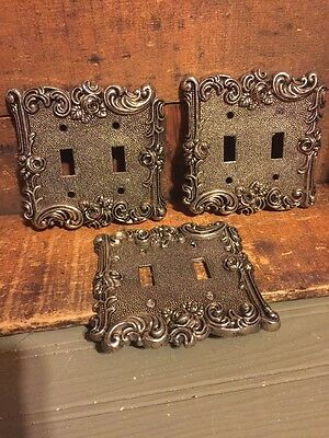 Lot 3 Vintage American Tack Hardware Metal Ornate Double Light Switch Cover