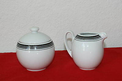 Block China Ionia Greece Salonika Black Pattern Lidded Sugar And Creamer