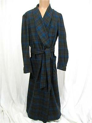 Vtg Mens PENDLETON Wool Plaid ROBE Smoking JACKET Belted EXCELLENT M Wrap Around