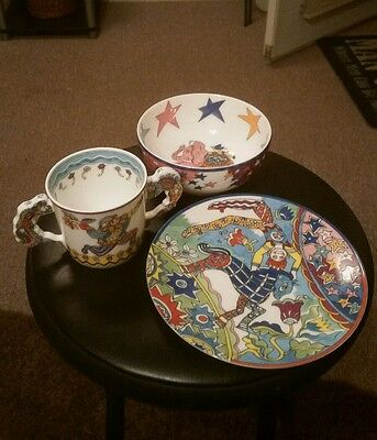 Tiffany & Co Fantasy Child's 3pc Set Plate Bowl Cup Gene Moore Circus Excellent