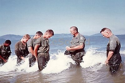 Vietnam War Photo Soldiers getting baptized in the sea 542