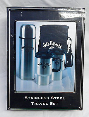 Jack Daniels Stainless Steel Travel Set Two Mugs Cups Thermos Flask Nnu In Box