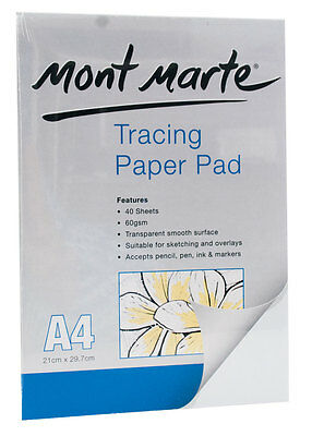 Mont Marte Tracing Paper Pad A4 40 Sheets For Drawing, Tatoo, Sketching etc