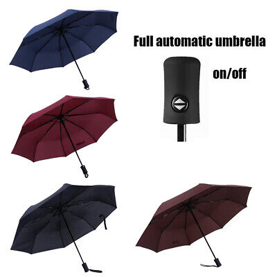 Auto Open Close Folding Travel Compact Umbrella Waterproof Windproof Black Blue