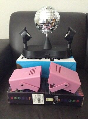 Rotating Disco Ball with LED Spotlights & 2 Mini Battery Operated Strobe lights