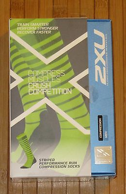 Men's 2XU Striped Performance Run Compression Socks Gray/Bright Green Large