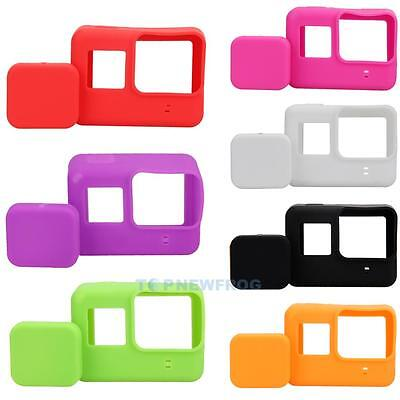 Soft Silicone Housing Case Protective Rubber  + Lens Cap Cover for GoPro Hero 5