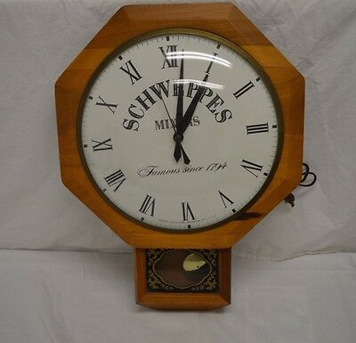 Vintage Schweppes Mixers Electric Bar Wall Clock - United Clock - Tested Works