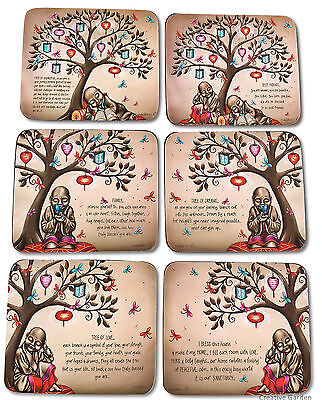 Tree of Life / Dreams Drink Table Coasters set of 6 Monk Buddha Lisa Pollock