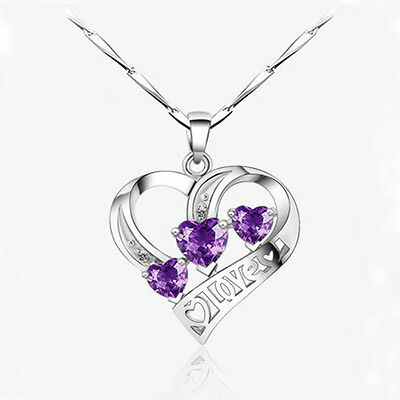 Women Chic Zircon Silver Plated Love Heart Shaped Pendant Chain Necklace