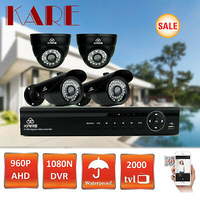 SMART 1080N 4CH DVR ADVANCED Security CCTV System 960P HD IR Vandal Proof Camera