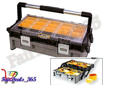 Jcb 2 Tray Cantilever Organizer Tool Box With 27 Removable Bins Heavy Duty