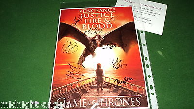 game of thrones  CAST BY 8 SIGNED PHOTO COA a