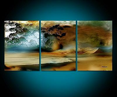 3PC thunderstorm MODERN ABSTRACT HUGE WALL ART OIL PAINTING ON CANVAS