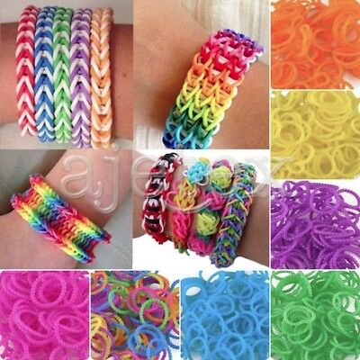 Rubber Bands Pearl Style Loom Refill Rainbow Bracelet Making S Clip Free tool