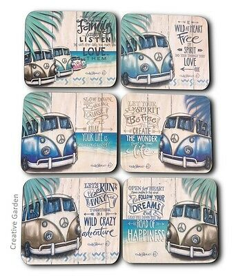 Kombi Revival Vintage Combi Table Coasters set of 6 Happiness Lisa Pollock