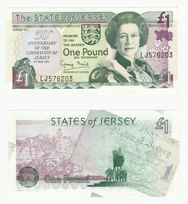 Jersey 50th Anniversary £1 note - BYB: ref JE15 - UNC.