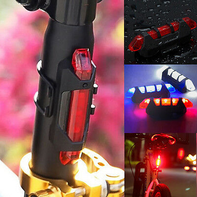 2016 Rear Safety Light 5 LED Bicycle Bike Cycling Tail USB Rechargeable Warning