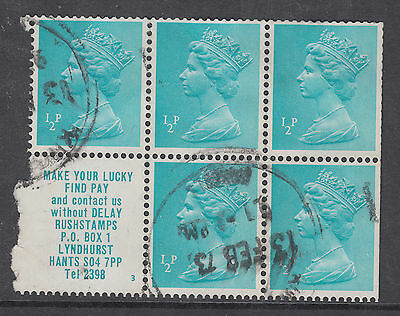 Rush Stamps Used 1/2p Booklet Pane per both scans