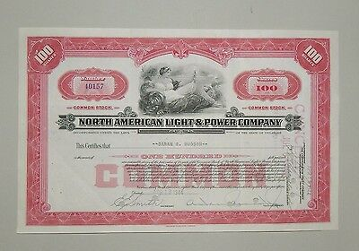 """""""North American Light and Power Company"""" 100 Shares 1944 - common stock / Aktie"""