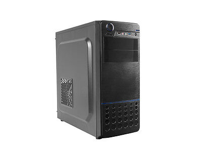 GAMING PC CASE, MIDI-TOWER, BLACK AND BLUE For ATX or MicroATX