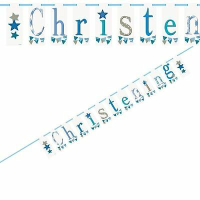 1 Boy Christening Blue Baby Banner Party Decoration 2.13m Flag Bunting Design