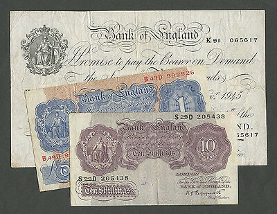 BANK OF ENGLAND - Peppiatt  WWII-1945 £5, £1, 10 sh  TYPE SET  ( Banknotes )