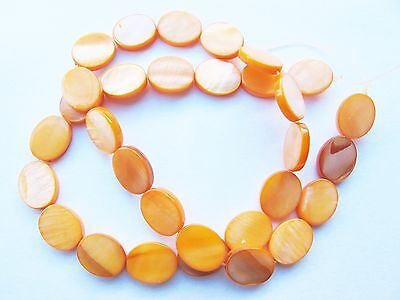 MOP Mother of pearl shell orange flat 12mm x 10mm oval beads 15""