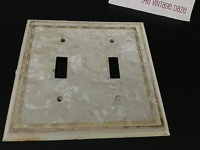 Vintage White Mother Of Pearl Metal Double Light Switch Plate