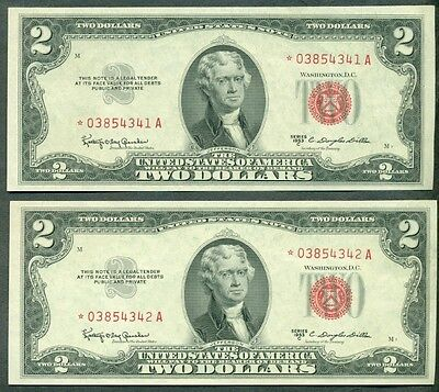 $2.00 Legal Tender, STAR NOTES, 1953C, Consecutive Serial Numbers Fr. #1512* UNC