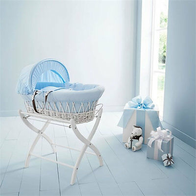 Brand new in box Izziwotnot white wicker moses basket blue gift with white stand