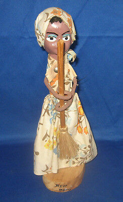 Dominican Republic Souvenir Wooden Figure of Woman Sweeping