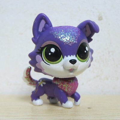 Hasbro Littlest Pet Shop Collection LPS Glitter White Purple Collie Puppy Dog
