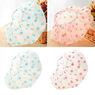 plastic 1pc Bathing hair hat Home Elastic Shower Cap waterproof Salon Spa women